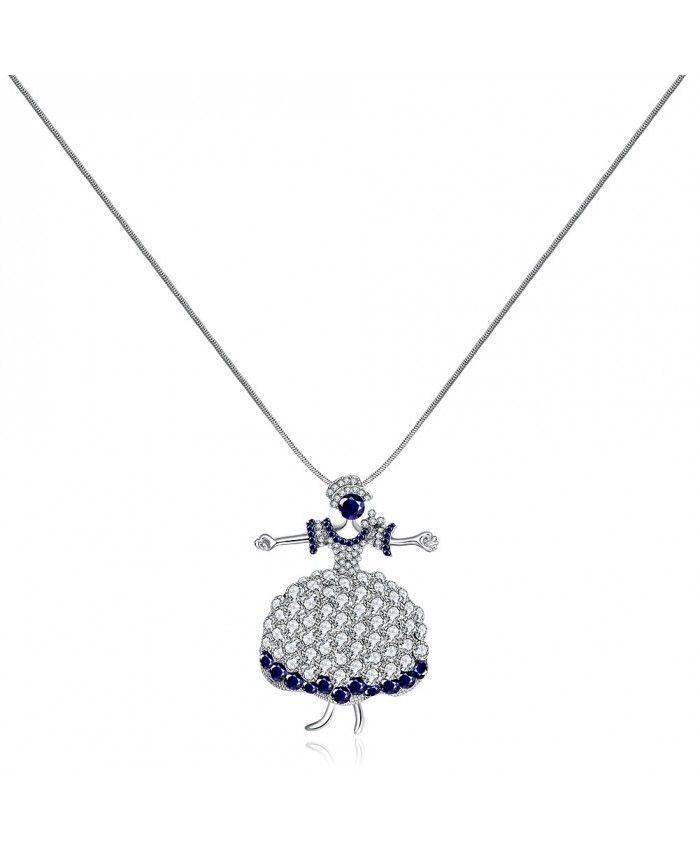 Ouruora Blue Dancing Queen Necklace Pendant Chain Necklace