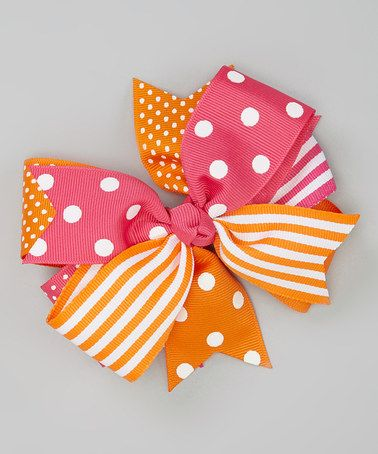 Take a look at this Hot Pink & Orange Polka Dot Bow Clip by Fairy Bow Mother on #zulily today!