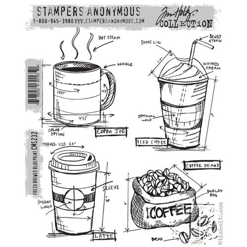 133 best coffee stamp sets images on pinterest handmade cards tim holtz cling rubber stamps freshly brewed blueprint cms232 malvernweather Image collections