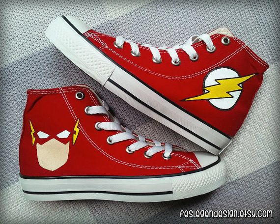 The Flash Custom Converse / Painted Shoes by FeslegenDesign, $65.00 In honnor of Sheldon cooper haha