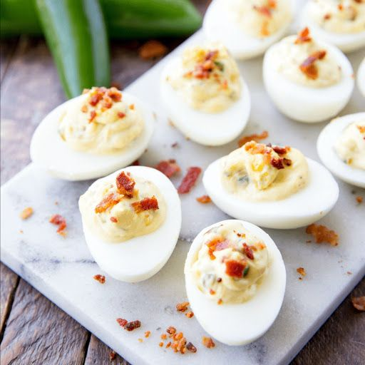 Bacon Jalapeno Deviled Eggs With Large Eggs, Mayonnaise, Rice Vinegar, Ground Mustard, Sugar, Jalapeno Chilies, Bacon, Paprika