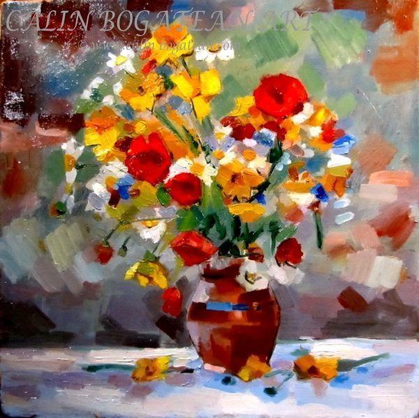 Flori de câmp în vas de lut pictură în ulei pe pânză natură statică tablou realist pictură hiperrealistă lucrare originală de artă pictată de pictorul profesionist Călin Bogătean membru al Uniunii Artiștilor Plastici Profesioniști din România.  Picturi cu flori tablouri florale flori pictate pe panza natură moartă pe pânză natură statică picturi flori