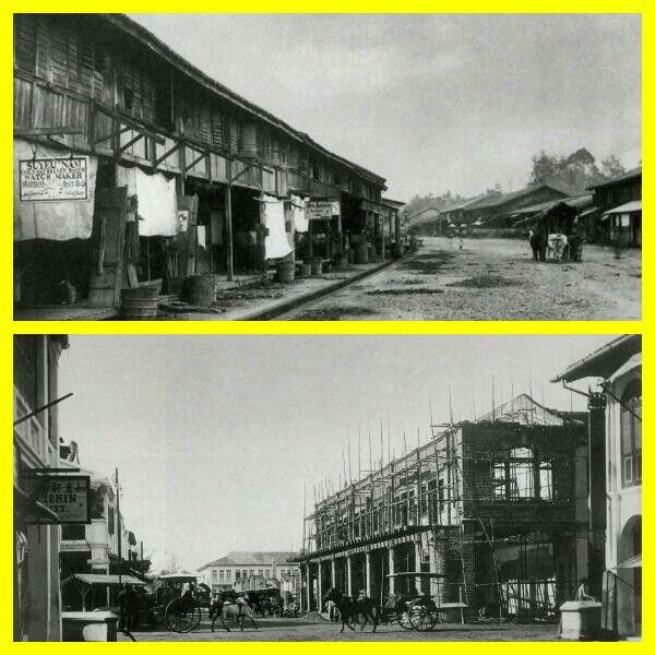 Photo atas : Kampong Kesawan Medan 1880-1885. Photo bawah : Pusat perdagangan Kesawan Medan 1900-1905.