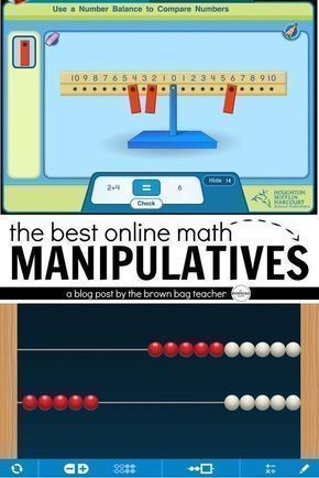 5 awesome and FREE online websites for math manipulatives. Perfect for modeling thinking during math mini-lessons and number talks! #mathlessonsonline