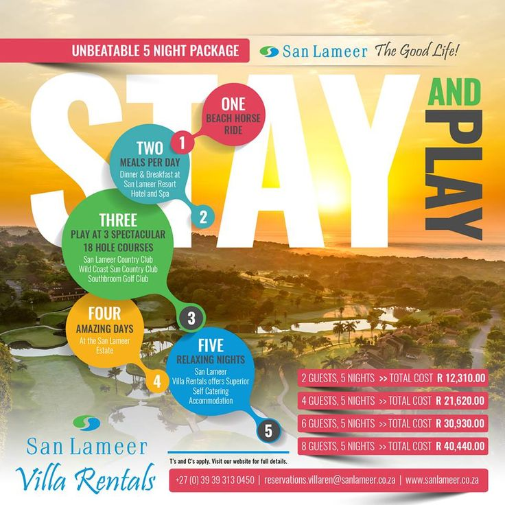 If you stay here, why not play here?  Visit our website for more details: www.sanlameer.co.za