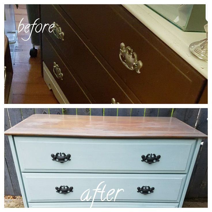 Before And After With Rustoleum Serenity Blue Chalk Paint