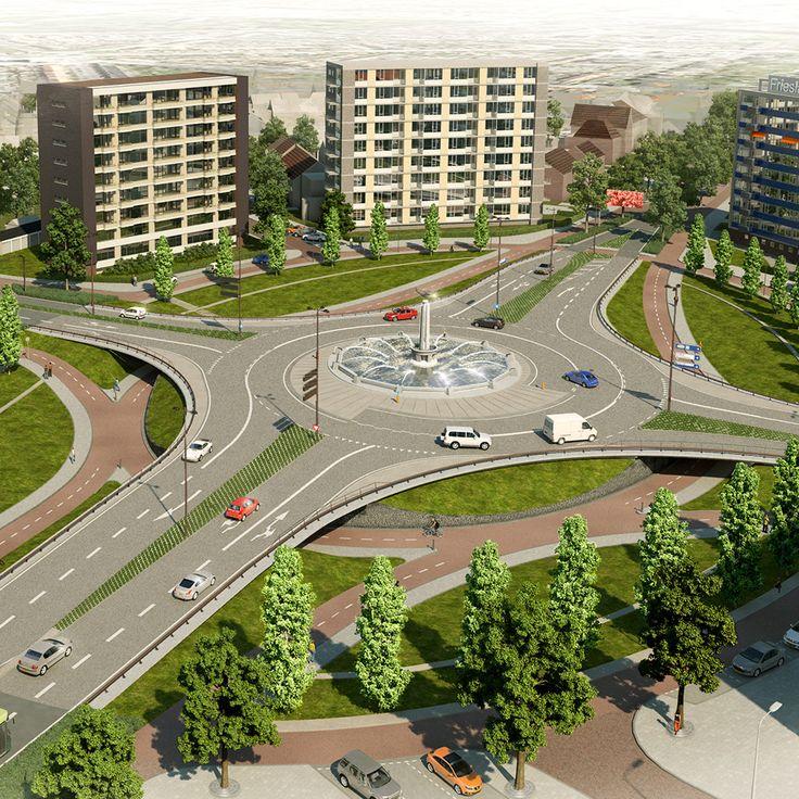 Definitief #Ontwerp #inrichtingsplan voor de herinrichting van het #Europaplein en het architectonisch ontwerp van drie onderdoorgangen voor het langzaam verkeer, i.o.v. gemeente Leeuwarden, i.s.m. #Tauw en #GoudappelCoffeng (2012-2013)