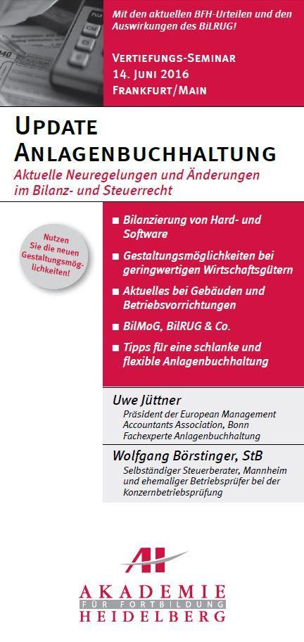 AH Akademie für Fortbildung Heidelberg GmbH:Update Anlagen Buchhaltung am 14. Juni 2016 in Frankfurt/Main #Anlagenbuchhaltung #Bilanzierung  #Fortbildung #Weiterbildung #Seminar #AkademieHeidelberg