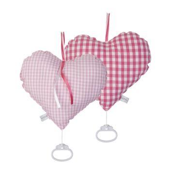 Herz-Spieluhr Vichykaro rosa/pink 24cm
