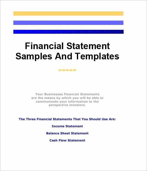 Financial Statements Template Pdf In 2020 Statement Template
