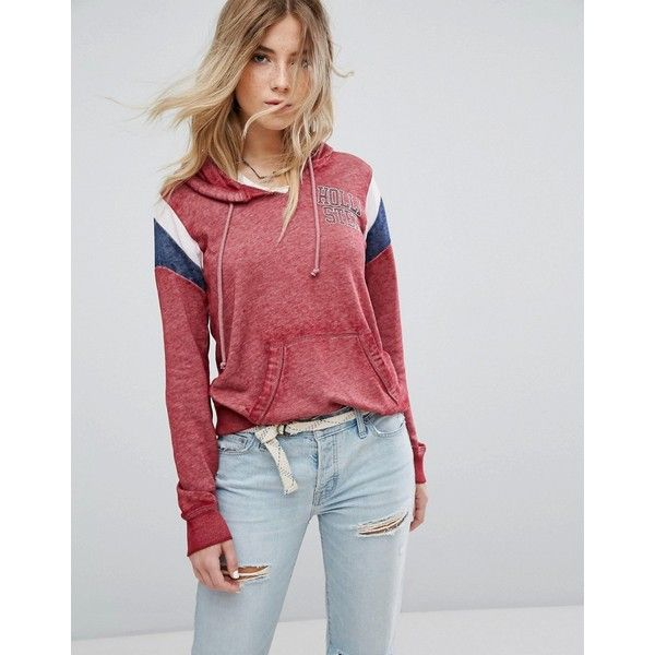 Hollister Sports Stripe Hoody ($57) ❤ liked on Polyvore featuring tops, hoodies, red, striped hooded sweatshirt, striped hoodie, cotton hooded sweatshirt, hooded sweatshirt and cotton hoodies