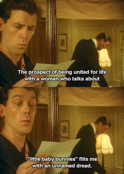 Jeeves and Wooster! this series is hilarious... I mean, this television program is most entertaining, sir. <<< bahahaha that comment.