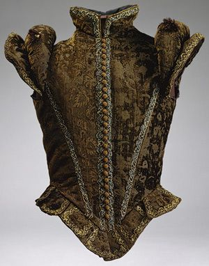 Jerkin, ca. 1580, Spanish  Brown silk voided velvet trimmed with metallic bobbin lace