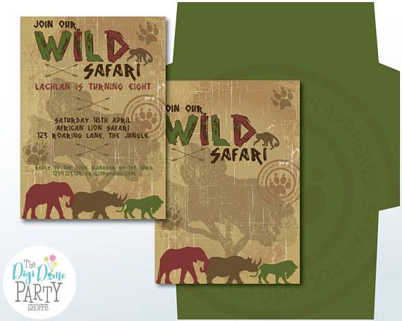 Safari Party Printable Invitation 5x7in. Instant Download and