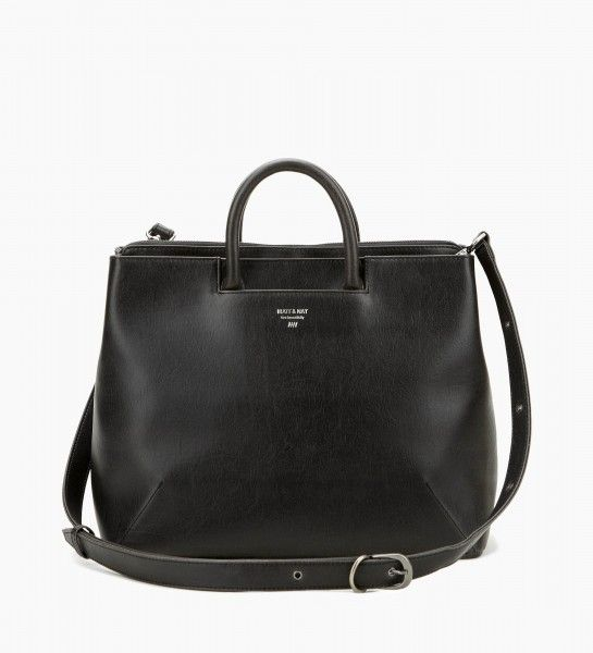 """Matt and Nat Black Kintla Bag  This is a handbag that can also be worn crossbody, with its' adjustable and removable strap. Features include 3 separate interior compartments; 2 of which have a magnetic snap closure and one with a zippered 13"""" laptop pouch. There is also a front slit pocket. The shoulder strap drop is 21"""" (adjustable) and the handle drop is 3.5"""" Dimensions: 14"""" X 11"""" X 7"""""""