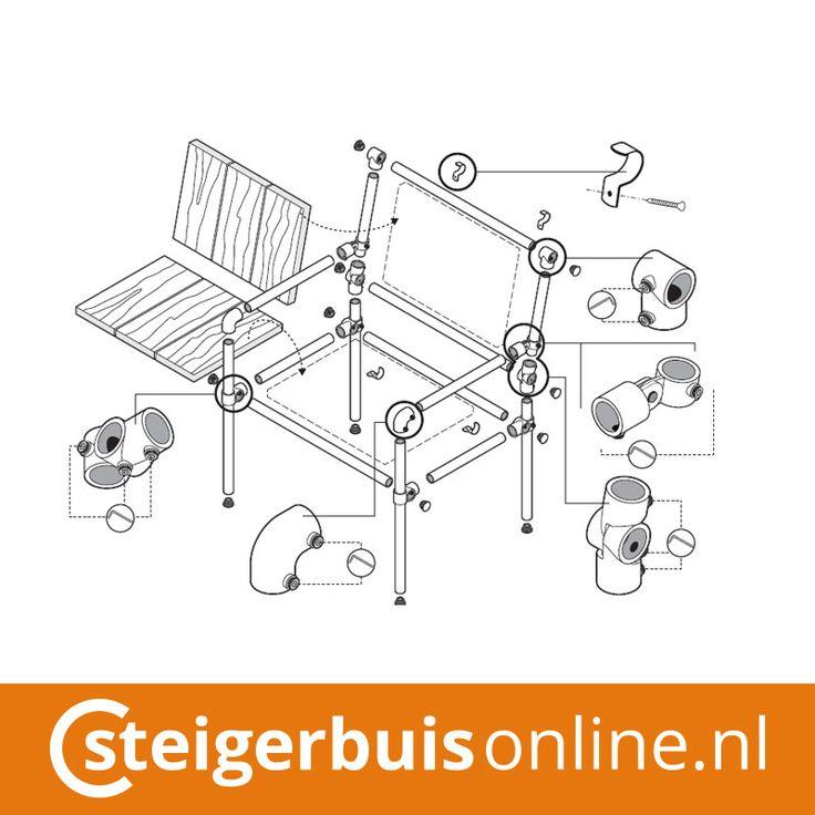 Werktekening (DIY) - Stoel van steigerbuis