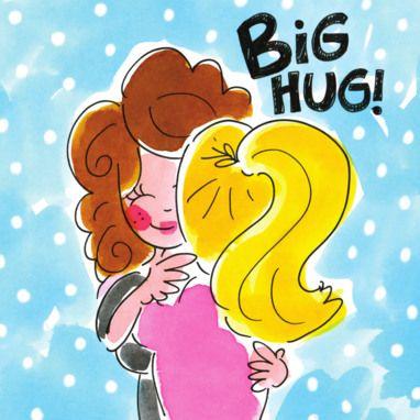 Twee knuffelende meisjes- Greetz