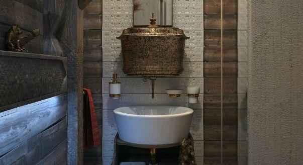 необычные дизайны ванных комнат есть в портфолио многих дизайнеров, ванная в «языческом» стиле – пожалуй, только у Сергея Баламатюка.