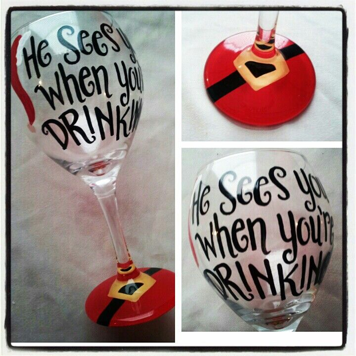Hand painted festive wine glasses by Red Feather Designs! $15