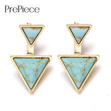 PrePiece Driehoek Vormige 18 K Vergulde Turquoise Steen Oorbellen 2016 Nieuwe Etnische Mode-sieraden voor Vrouwen Brincos PE0270(China (Mainland))