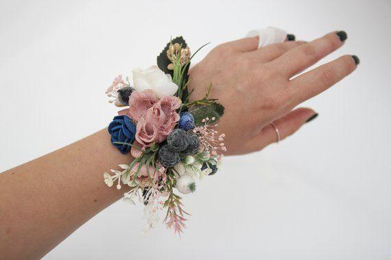 Corsage and boutonniere set, blush pink wedding corsage, bridesmaid corsage, floral wrist corsage, b