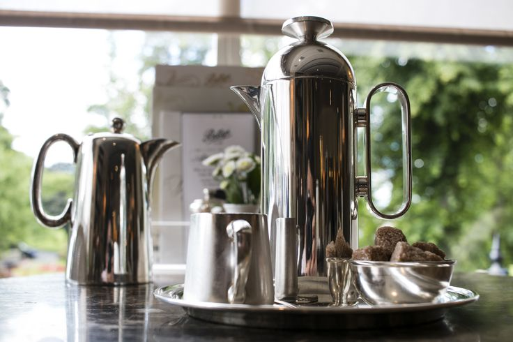 Silver Plate Cafetiere. Specially designed by Corin Mellor for Bettys & Taylors, Harrogate. #bettys #bettystearooms #cafetiere #corinmellor #coffee #designsforcoffee #yorkshire
