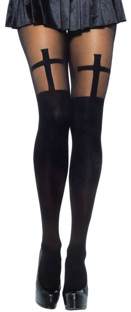CROSS OPAQUE STOCKINGS WITH SHEER THIGH $10.00 #stockings #cross #goth #macabre
