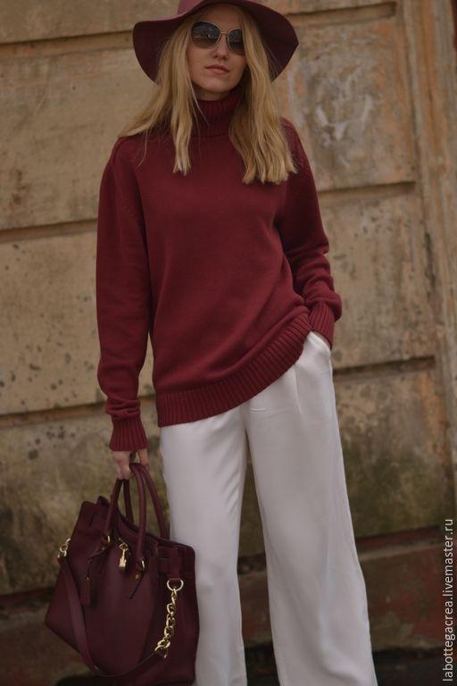 Купить Хлопковый свитер Boyfriend цвет Marsala - бордовый, марсала, свитер вязаный, свитер женский