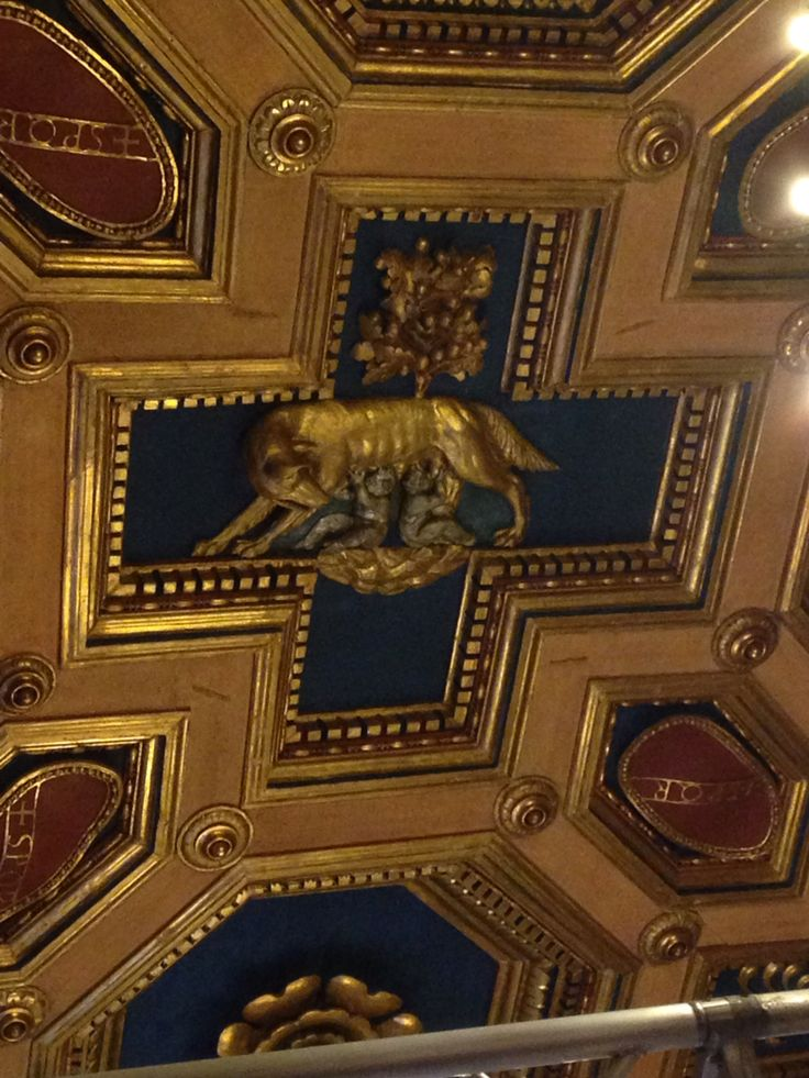 Dinsdag 6 oktober Op het plafond is de wolvin afgebeeld die Romulus en Remus voedt, het beeld dat staat voor Rome. In vrijwel elk museum in Rome kom je wel zo´n beeld tegen. De wolvin wordt omringd door rood met blauwe zeshoek met een gouden rand over het gehele plafond.