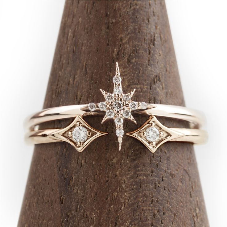 DETAILS Set of Starburst diamond ring featuring diamond .08ctw and Double star ring. SPECIFICS Starburst size: 7.5mm x 9mm Starburst ring diamond total carat...