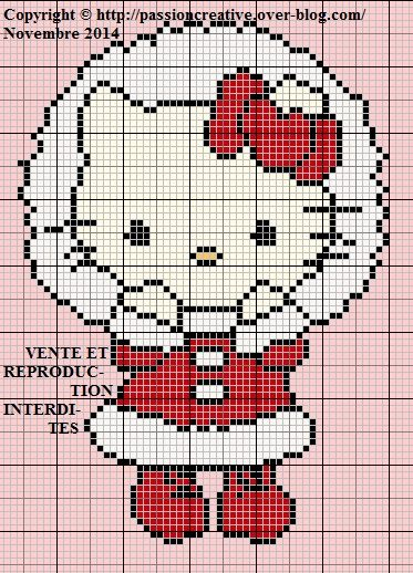 Grille gratuite point de croix : Hello Kitty Noel - Le blog de Isabelle
