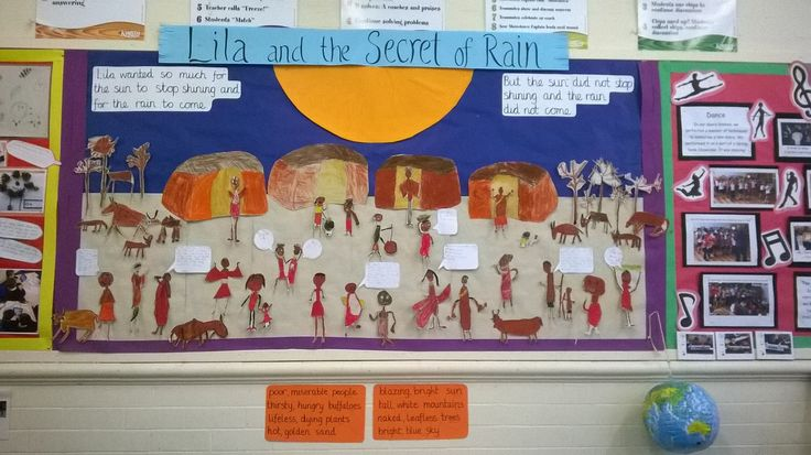 Display Board of Lila and the Secret of Rain - year 1 work using oil pastels, writing quotes for all the villagers and noun phrase descriptions