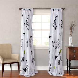Perry Ellis Asian Lily Lined Floral Semi-Opaque Rod Pocket Curtain Panels