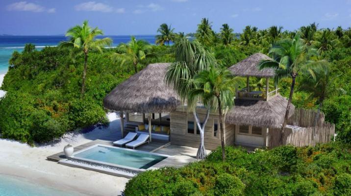 Beach family villa med pool på Six Senses Laamu, Maldiverne