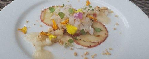 Fresh diver scallop crudo - grilled pear - pear salsa - pear foam - toasted hazelnut   miummium.com