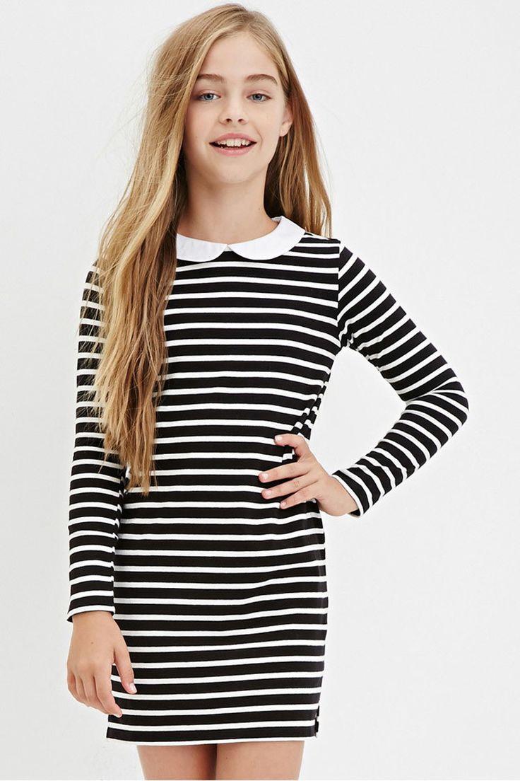 Girls Collared Stripe Shift Dress (Kids) | Forever 21 - 2000181296