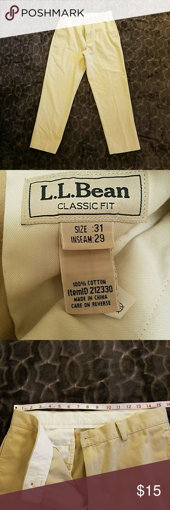L.L. Bean men's Khaki pants L.L. Bean men's Khaki pants   Photos include measurements; waist, hips, outer seam length, leg width, ankle width L.L. Bean Pants Chinos & Khakis