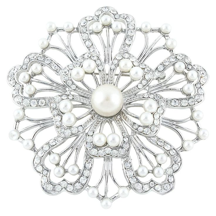 EVER FAITH® Silver-Tone Bridal Floral Simulated Pearl Austrian Crystal Clear Brooch Corsage A11119-1 ** You can find out more details at the link of the image. #BroochesandPins