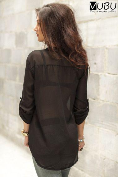 Szyfonowa czarna bluzka ze złotym zamkiem