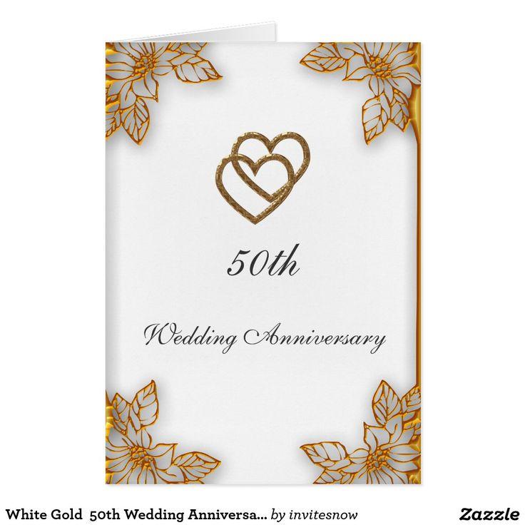 Aniversario de boda del oro blanco 50.o tarjeta de felicitación