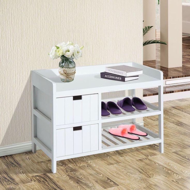 Shoe Storage Bench 2 Drawer Shelves White Colour Wood Entrance Hallway Furniture