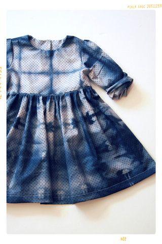 Tie Dye Plum Shibori 001 Girls Dress in Hand Dyed Cotton Dot – Fleur + Dot. Handmade Childhoods. FleurandDot.com