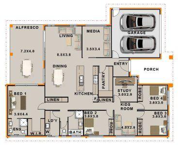 4 Bedroom + Study + Media + Activity house plan