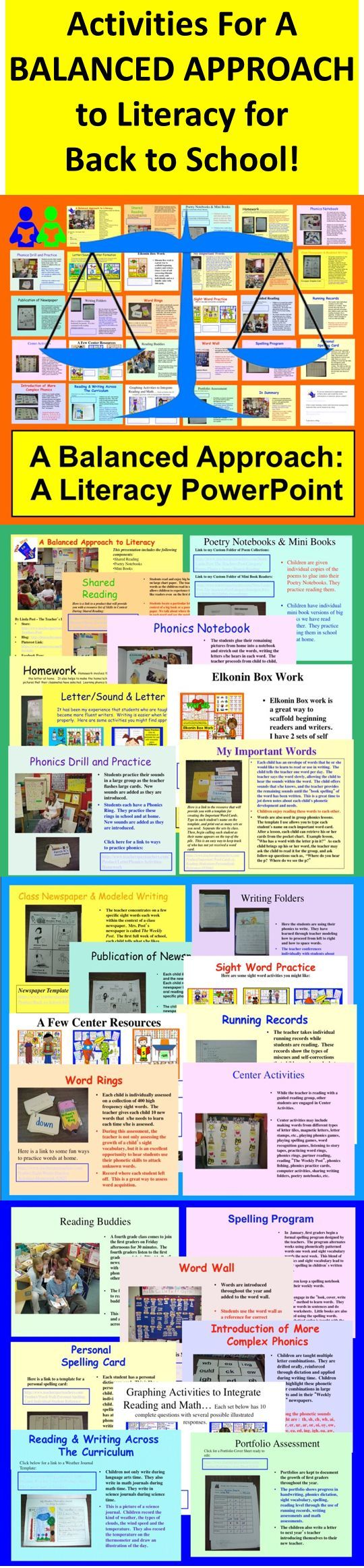 $ ★ Balanced Literacy for the Primary Grades with Back To School Activities  ★ This 30 slide PowerPoint Balanced Literacy presentation describes all of the components I use to provide young learners with an effective balanced literacy program. Before you head back to school, see if you'd like to incorporate any of these ideas into your literacy block as back to school activities.   ★ I have described all of the components that I always include in my classroom during my many years of…