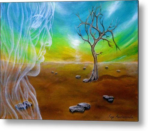 Metal Print, Painting, ,fantasy,scene,sky,landscape,tree,angel,fairy,face,spirit,girl,woman,feminine,female,long,hair,figure,psychedelic,picturesque,whimsical,vibrant,vivid,colorful,blue,impressive,cool,beautiful,powerful,atmospheric,celestial,mystical,dreamy,contemporary,imagination,surreal,figurative,modern,fine,oil,wall,art,images,home,office,decor,artwork,modern,items,ideas,for sale,fine art america,Breath Of An Angel