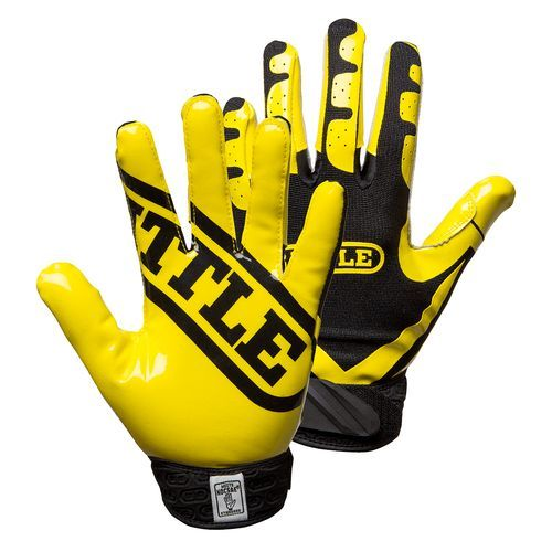 Battle Youth Ultra-Stick Receiver Football Gloves Yellow/Charcoal - Football Equipment, Football Equipment at Academy Sports