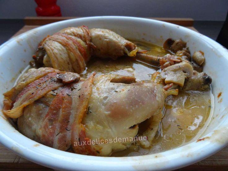 Cuisses de poulet farcies à la poitrine fumée et Merzer au cookéo ou pas - auxdelicesdemanue