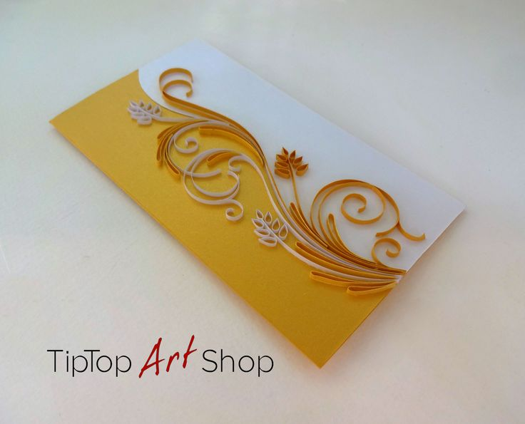 Handmade Quilling Card in Gold and White by TipTopArtSHop