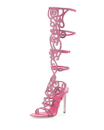 Knee-High+Crystal+Sandal++by+Rene+Caovilla+at+Neiman+Marcus.