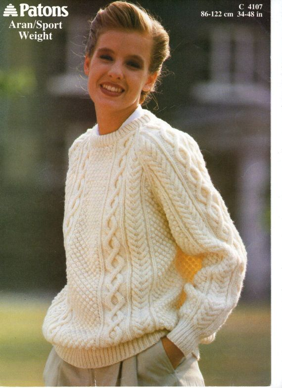 Classic  Aran Sweater  Vintage Knitting Pattern by PamoolahVintage, $3.50  I love a classic Aran sweater ...